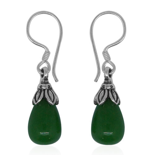 Super Auction- Royal Bali Collection Green Jade (Pear) Drop Hook Earrings in Sterling Silver 17.200 Ct.