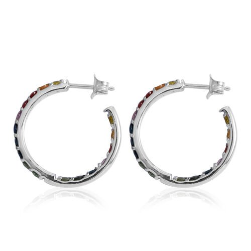 Designer Inspired- AA Rainbow Sapphire (Rnd) In Out Hoops Earrings (with Push Back) in Rhodium Plated Sterling Silver 3.000 Ct. Silver wt 5.35 Gms.