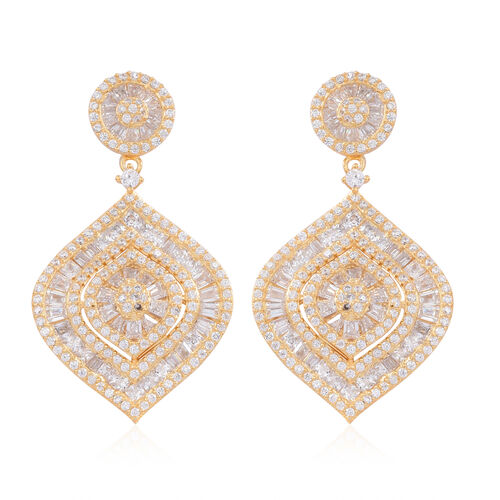 ELANZA AAA Simulated Diamond (Rnd) Earrings in 14K Gold Overlay Sterling Silver, Silver Wt 11.15 Gms.