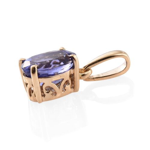 ILIANA 18K Yellow Gold 1.25 Ct AAA Tanzanite Solitaire Pendant