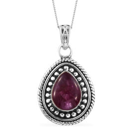 African Ruby Pendant with Chain in Sterling Silver 2.470 Ct.Sterling Silver Wt. 6.15 Gms