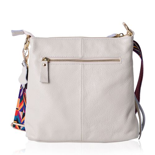 Genuine Leather Off White Colour Handbag with External Zipper Pocket and Adjustable and Removable Multi Colour Shoulder Strap (Size 25X23X8 Cm)