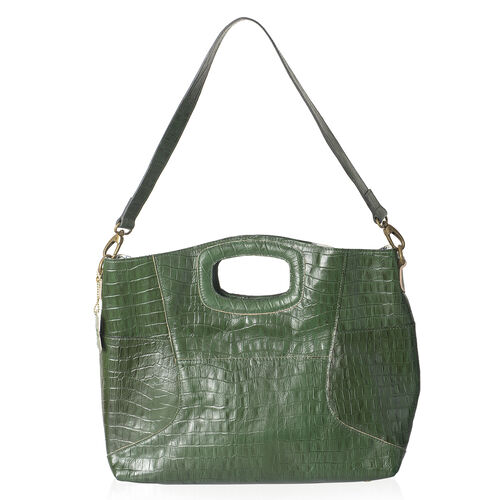 Genuine Leather RFID Blocker Green Colour Croc Embossed Convertible Tote or Sling Bag (Size 45X32X8 Cm)