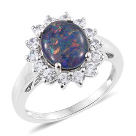 Australian Boulder Opal (Ovl 2.15 Ct), Natural Cambodian Zircon Floral Ring in Platinum Overlay Sterling Silver 3.250 Ct.