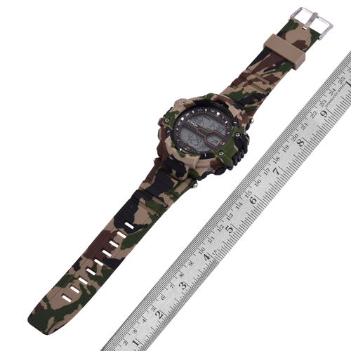 STRADA Electronic Movement LED Display Watch with Stainless Steel Back and Green Camouflage Silicone Strap