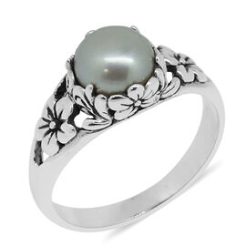 Royal Bali Collection Fresh Water White Pearl (Rnd 8mm) Ring in Sterling Silver