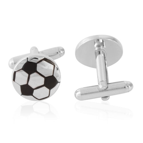 Football Cufflink in Silver Bond