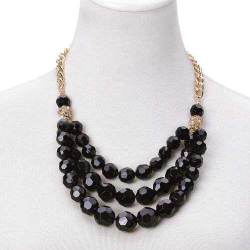 Simulated Black Spinel and White Austrian Crystal Triple Strand Necklace (Size 21 with 2 inch Extender) in Yellow Gold Tone