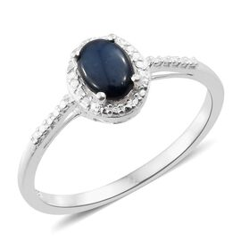 Star Blue Sapphire (Ovl) Solitaire Ring in Sterling Silver 1.000 Ct.