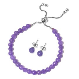 Purple Jade (Rnd) Adjustable Bracelet (Size 6.5 to 9) and Earrings (with Push Back) in Stainless Steel 48.000 Ct.