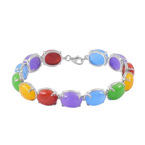 Purple, Green, Red, Blue and Honey Jade (Ovl) Bracelet (Size 7.5) in Platinum Overlay Sterling Silver 74.500 Ct.