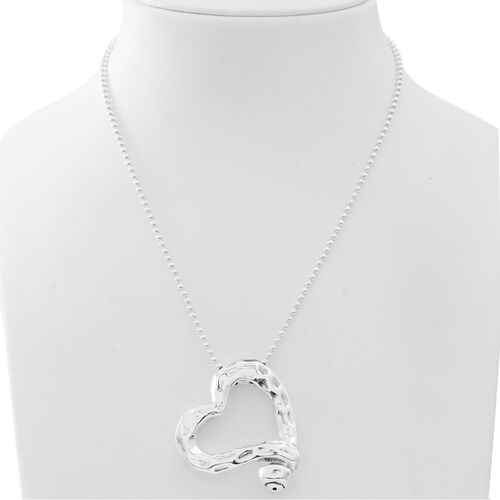 Vicenza Collection-Designer Inspired Sterling Silver Heart Pendant With Chain (Size 18 with Half inch Extender), Silver wt. 19.00 Gms.