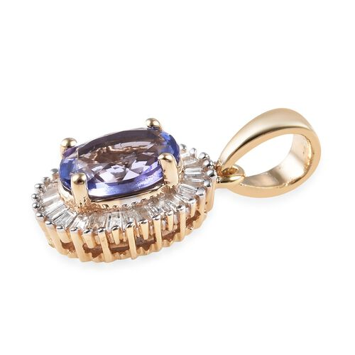 1.10 Ct AA Tanzanite and Diamond Halo Pendant in 9K Gold