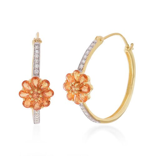 Yellow Sapphire (Pear), White Zircon Floral Hoop Earrings in 14K Gold Overlay Sterling Silver 4.750 Ct.