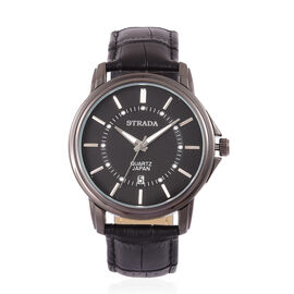 STRADA Japanese Movement Black Dial Watch in Black Tone with Stainless Steel Back and Black Colour Strap