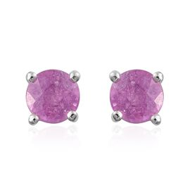 Madagascar Hot Pink Sapphire (Rnd) Stud Earrings (with Push Back) in Platinum Overlay Sterling Silver 1.250 Ct.