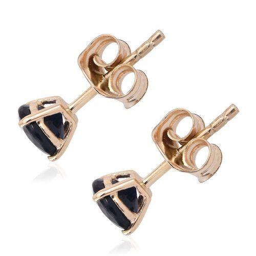 9K Yellow Gold 1.25 Carat AA Kanchanaburi Blue Sapphire (Rnd) Stud Earrings (with Push Back)