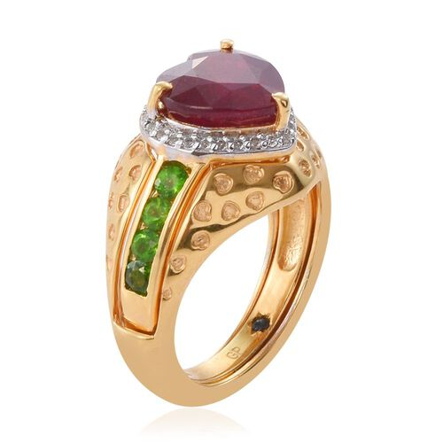 GP African Ruby (Hrt 5.15 Ct), Russian Diopside, White Topaz and Kanchanaburi Blue Sapphire Ring in 14K Gold Overlay Sterling Silver 6.000 Ct. Silver wt 6.53 Gms.