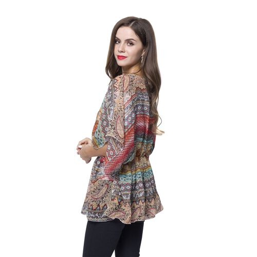 Red, Blue and Multi Colour Bohemian Pattern Poncho (Free Size)