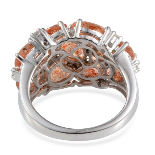 Tanzanian Sun Stone (Ovl), White Topaz Ring in Platinum Overlay Sterling Silver 5.500 Ct.