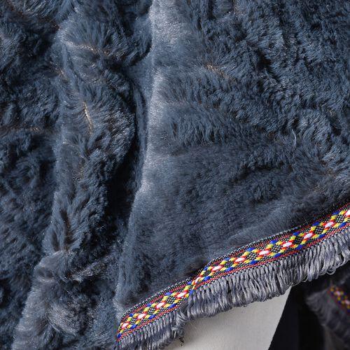 Rose Pattern Faux Fur Poncho - Grey (One Size)