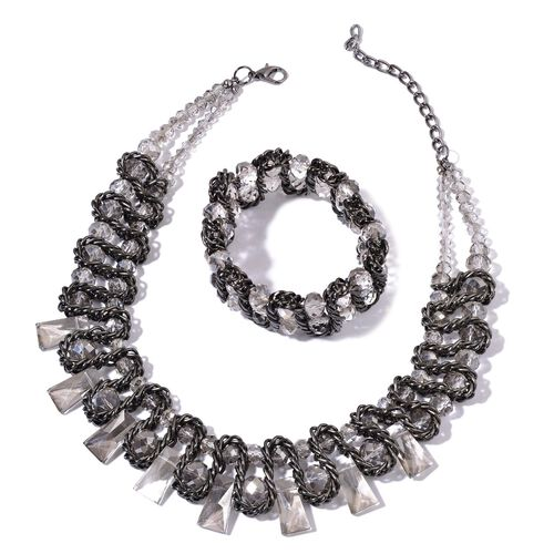Simulated Grey Moonstone Necklace (Size 16 with 4 inch Extender) and Stretchable Bracelet (Size 7.50) in Black Tone