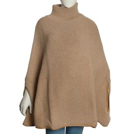 100% Wool Beige Colour Knitted Cape Jacket (Free Size)