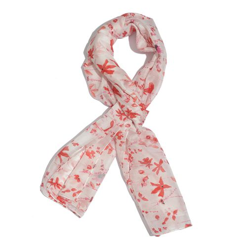 100% Mulberry Silk Red and Pink Colour Floral Pattern White Colour Scarf (Size 180x50 Cm)