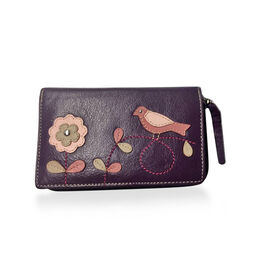 Genuine Leather RFID Blocker Plum, Pink and Multi Colour Bird with Flower Pattern Wallet with Multiple Card Slots (Size 16X10X3 Cm)