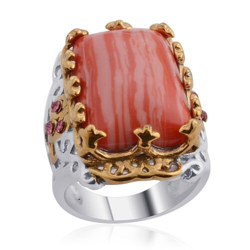Designer Collection Simulated Rhodochrosite, Pink Austrian Crystal Ring in ION Plated YG and Stainless Steel 35.010 Ct.