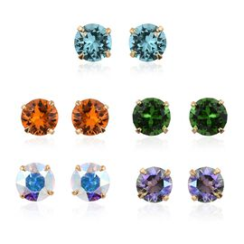 Set of 5 - J Francis Crystal from Swarovski - Shine Crystal, Fern Green, AB Colour, Turquoise and Tangerine Colour Crystal Earrings (with Push Back) in 14K Gold Overlay Sterling Silver