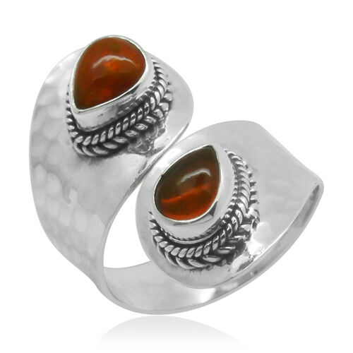 Royal Bali Collection Orange Ethiopian Opal (Pear) Ring in Sterling Silver 0.510 Ct.