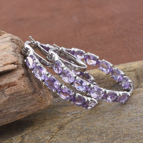 Rose De France Amethyst (Ovl) Hoop Earrings (with Clasp) in Platinum Overlay Sterling Silver 9.000 Ct.