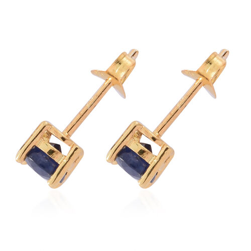 Kanchanaburi Blue Sapphire (Rnd) Stud Earrings (with Push Back) in 14K Gold Overlay Sterling Silver 1.350 Ct.