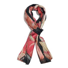 100% Mulberry Silk Black, Pink and Multi Colour Handscreen Tulip Printed Scarf (Size 200X180 Cm)