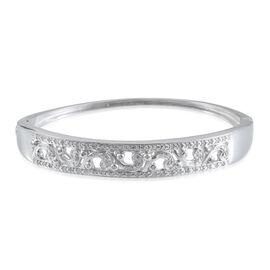 Diamond (Rnd) Filigree Bangle (Size 7.5) in Platinum Overlay Sterling Silver 0.550 Ct.