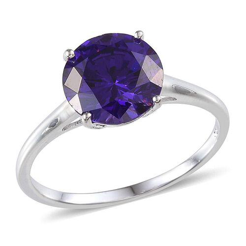 AAA Simulated Amethyst (Rnd) Solitaire Ring in Sterling Silver