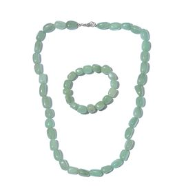 Green Aventurine Necklace (Size 20) and Stretchable Bracelet (Size 7) in Platinum Overlay Sterling Silver 440.000 Ct.