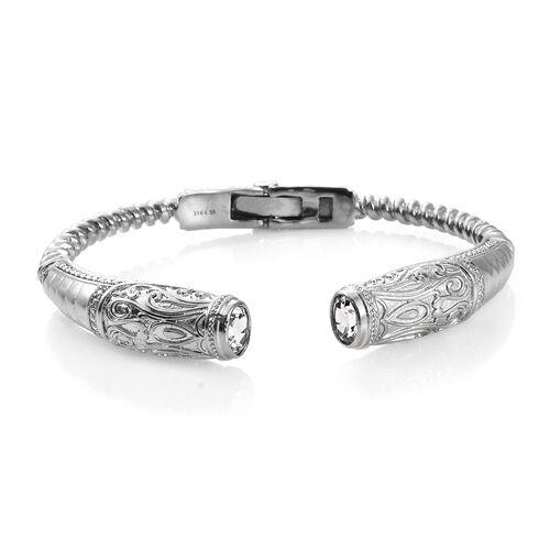 Designer Inspired- White Topaz (Ovl) Cuff Bangle (Size 7.50) in Platinum Plating  2.500 Ct.