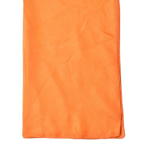 100% Mulberry Silk Orange Colour Scarf (Size 180x110 Cm)