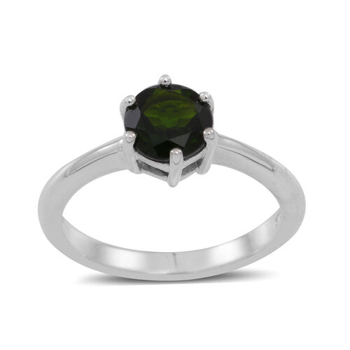 Russian Diopside (Rnd) Solitaire Ring in Sterling Silver 1.500 Ct.