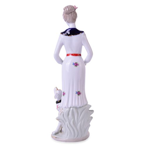 (Option 1) Art Deco Hand Painted Ceramic Figurine Lady with a Dog Aside (Size 30x10x9 Cm)