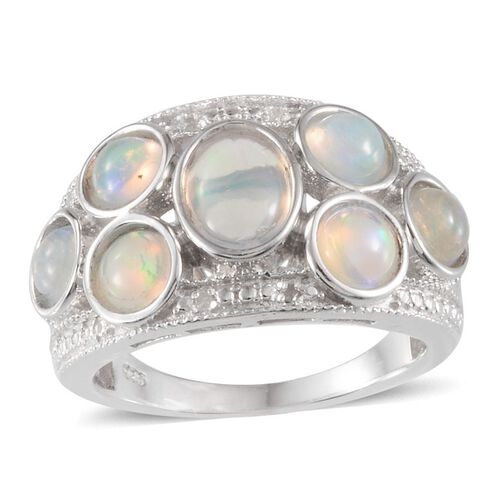Ethiopian Welo Opal (Ovl 0.75 Ct), Diamond Ring in Platinum Overlay Sterling Silver 2.770 Ct.