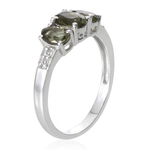 Bohemian Moldavite (Ovl 0.75 Ct), White Topaz Ring in Platinum Overlay Sterling Silver 1.850 Ct.