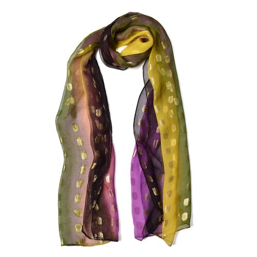 100% Mulberry Silk Purple, Yellow and Multi Colour Golden Dot Pattern Scarf (Size 180X55 Cm)