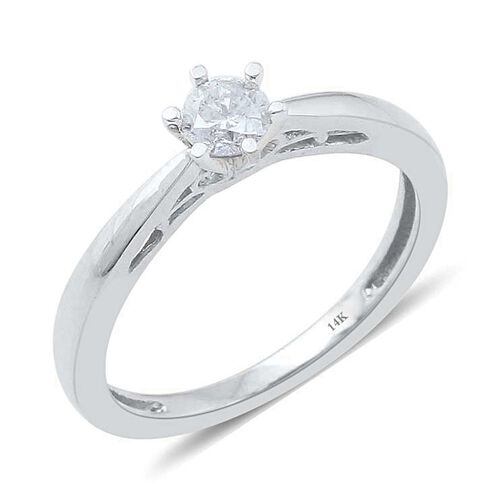 14K W Gold IGI Certified Diamond (Rnd) (I2/ G-H) Solitaire Ring 0.250 Ct.