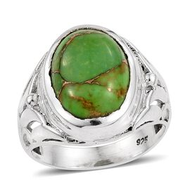 Close Out Deal-Mojave Green Turquoise (Ovl) Solitaire Ring in Rhodium Plated Sterling Silver 5.110 Ct.