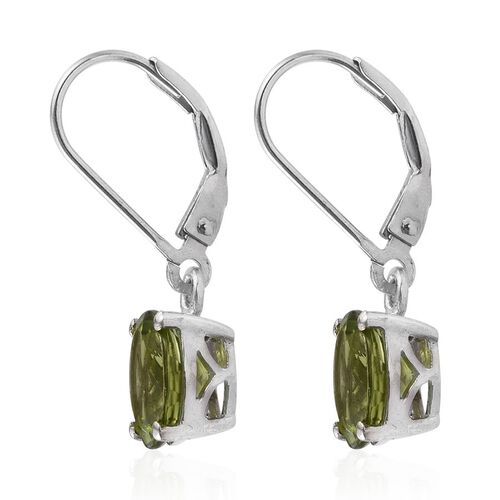AA Hebei Peridot (Ovl) Lever Back Earrings in Platinum Overlay Sterling Silver 4.250 Ct.