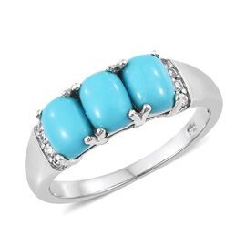 Arizona Sleeping Beauty Turquoise (Cush), Natural Cambodian Zircon Ring in Platinum Overlay Sterling Silver 2.250 Ct.
