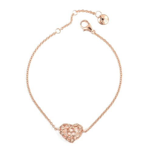 RACHEL GALLEY Rose Gold Overlay Sterling Silver Lattice Heart Bracelet (Size 7 - 8 Inches)